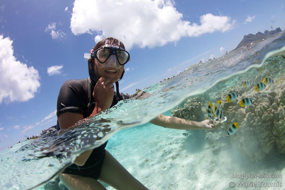 Dans le lagon de Maupiti, Polynésie, octobre 2012. (Photo par Marie Toumit)