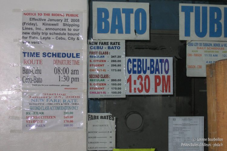 The Cebu-Bato ferry is at 13:30 (Philippines, January 2008)