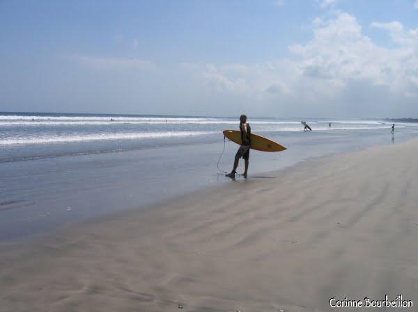 Sur l'immense Kuta Beach, un surfeur guette la vague. (Bali, juillet 2008)