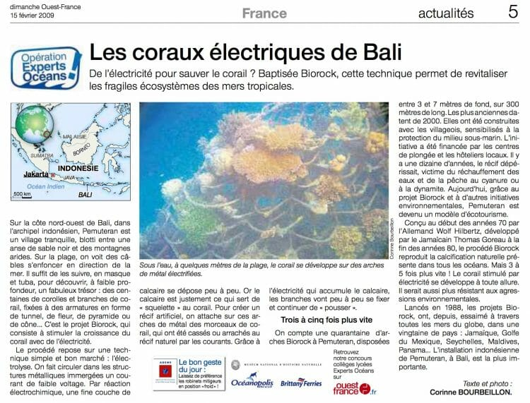 Biorock, the electric corals of Bali. Article published Sunday West-France, February 2, 2009.