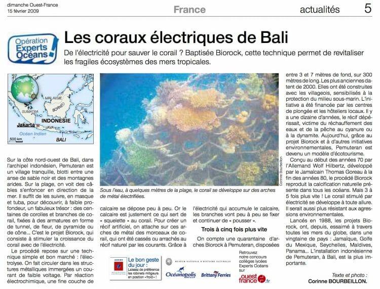 Biorock, les coraux électriques de Bali. Article paru dans dimanche Ouest-France, le 2 février 2009.