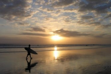Sunset on the beach of Kuta. Bali.