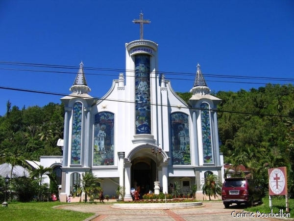 A very kitsch Christian church in the Tomohon area. North Sulawesi, Indonesia