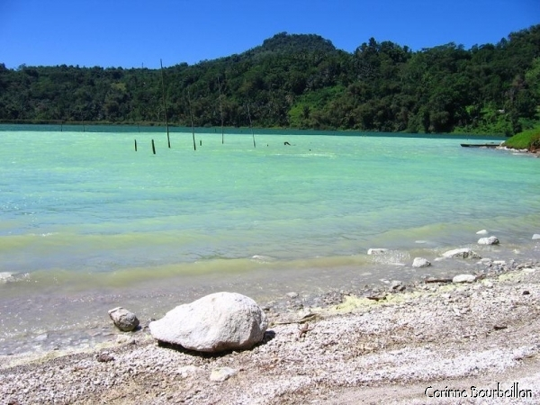 Danaw Linow Suff Lake, near Lahendon, is a spectacular jade green. North Sulawesi, Indonesia.