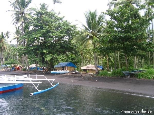 Black sand beach in the Lembeh Strait.