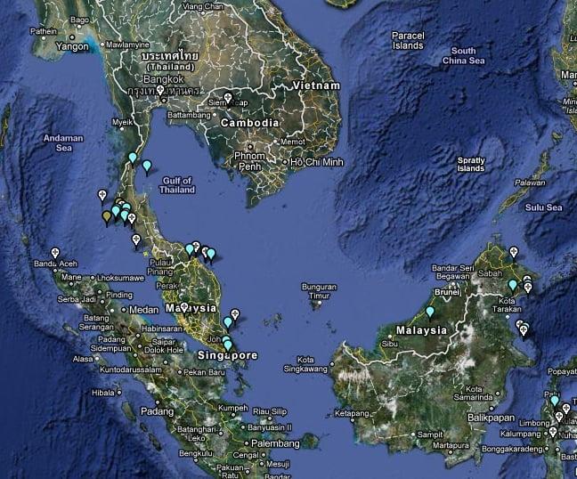 La Google Map de mes voyages.