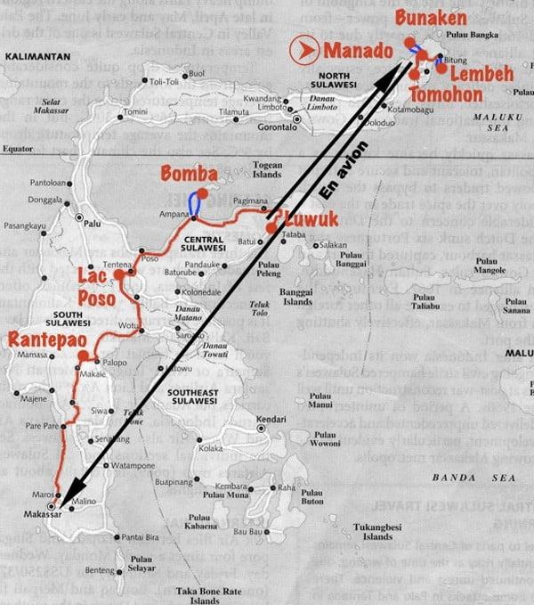 Mon itinéraire d'un mois à Sulawesi: Manado-Bunaken-Lembeh-Tomohon-Makassar-Rantepao-lac Poso-Ampana-Bomba-Luwuk-Manado.