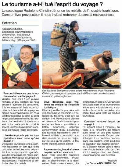 Interview with Rodolphe Christin, Antitourism Handbook, Ouest-France, October 25, 2008