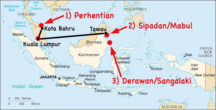 Itinéraire d'un mois en Malaisie et Indonésie : îles Perhentian, puis Sipadan et Mabul, archipel de Derawan.