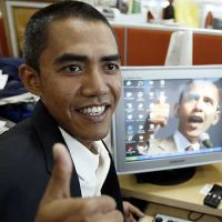 Ilham Anas, 34, Indonesian, is a celebrity in Asia because of his resemblance to the American president. © AP Photo