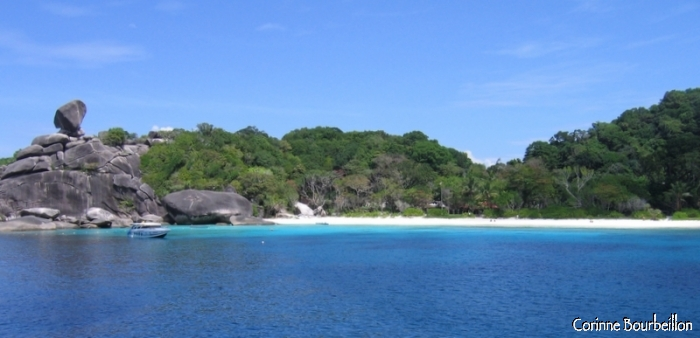 Island No. 8 of the Similan Archipelago. white sand from white and azure water ...