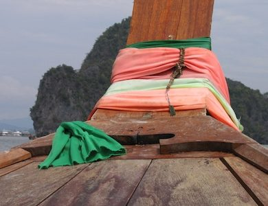 Long-tail boat in Phang Nga Bay, Thailand.