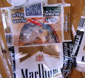 Smoking kills: pack of Thai cigarettes.