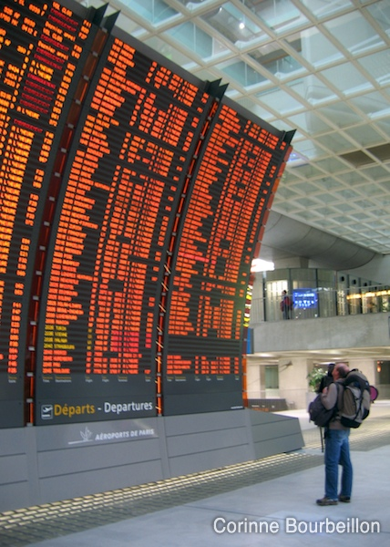 Chart of flights to the TGV station of Roissy Charles-de-Gaulle airport.
