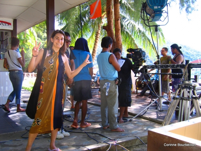 Sur le tournage de Biru Cinta Delaguna. Perhentian Besar, Malaisie, juillet 2009.