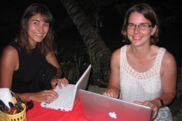 """Geekettes"" with wifi on the beach. Perhentian Besar, Malaysia, July 2009."