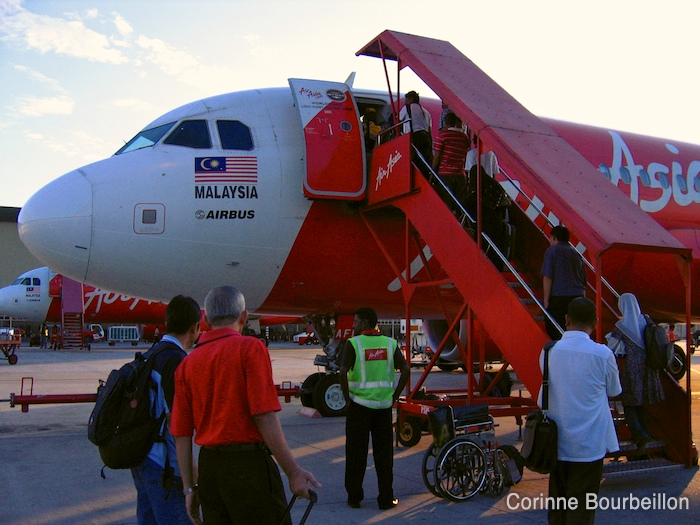 An Airbus from the Malaysian low-cost airline AirAsia, at LCCT airport in Kuala Lumpur.