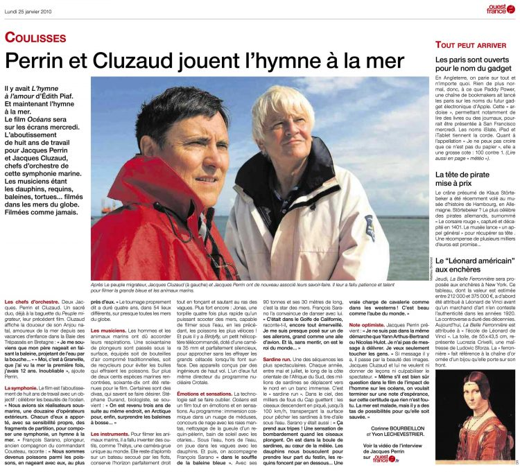 Perrin and Cluzaud play the hymn to the sea (article from 25/01/2010 published in Ouest-France for the release of the film Océans)