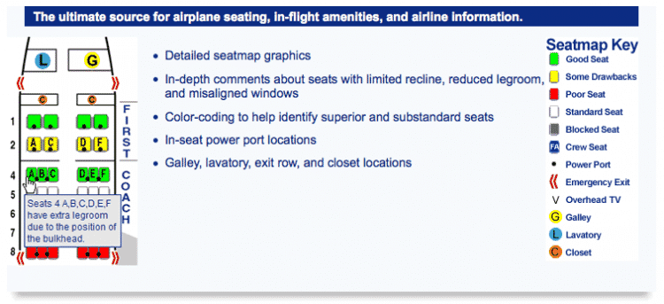 The SeatGuru site details the advantages and disadvantages of seats depending on the aircraft. Very useful to find the best seat in the plane.