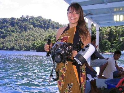 With my Canon Eos 7D in its Ikelite case, in Lembeh. Sulawesi, Indonesia. July 2010.
