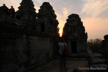 Sunset on the Bakheng Hill Temple. Siem Reap, Cambodia. February 2011.