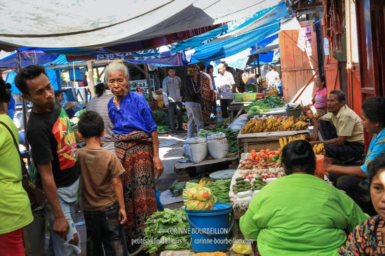Old lady wearing ikat, at Maumere market. (Flores, Indonesia, July 2011)