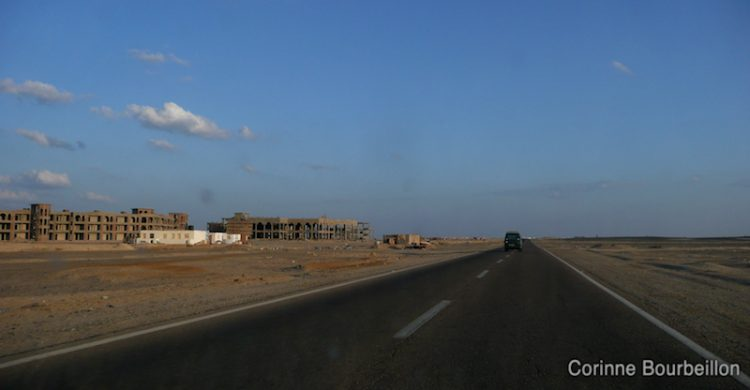 An abandoned construction on the road between Marsa Alam and Hamata. Egypt, November 2011.