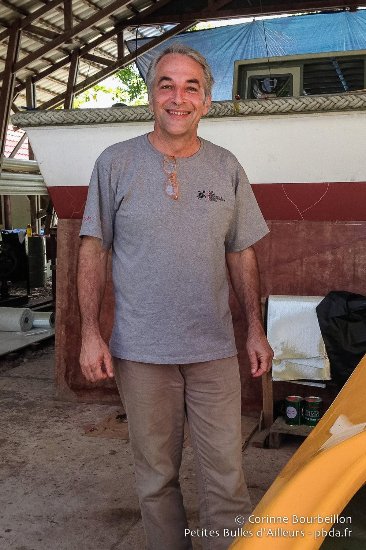 Max Ammer in the boathouse at Sorido Bay Resort. Kri Island, Raja Ampat.
