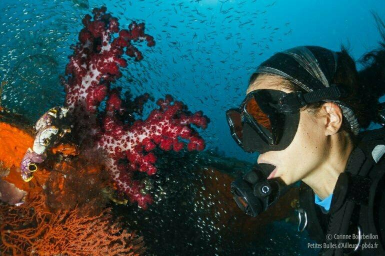 Miyo, fascinée par la vie du récif corallien. Raja Ampat, Papouasie occidentale, Indonésie, mars 2012.