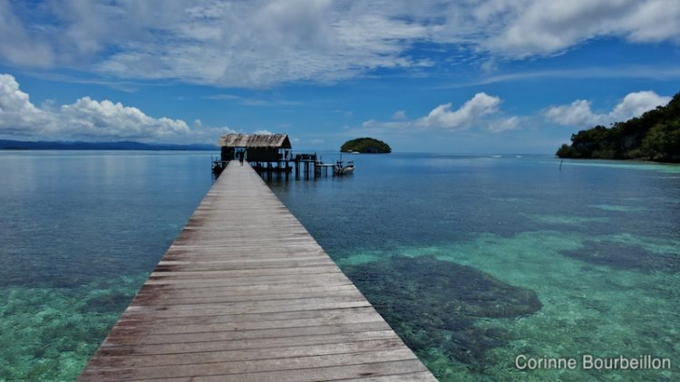 The beautiful pontoon above the coral at Sorido Bay Resort in Kri. Raja Ampat, Papua Barat, Indonesia. March 2012.