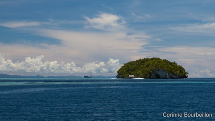 View of the islet in front of Sorido Bay Resort, Kri. Raja Ampat, Papua Barat. Indonesia, March 2012.