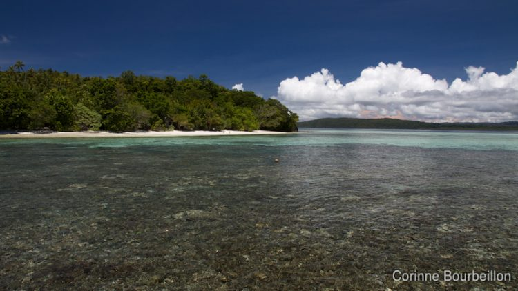 The view of Kri Island, from the dock of Sorido Bay Resort. Raja Ampat, Papua Barat, Indonesia. March 2012.