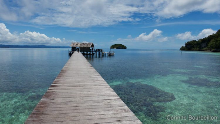 On the dock of Sorido Bay Resort. Raja Ampat. Papua, Indonesia, March 2012.