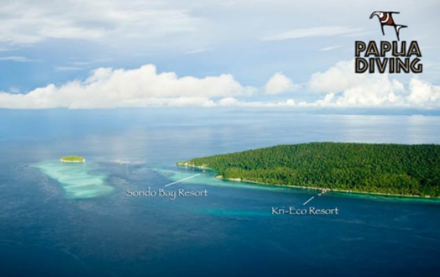 The Sorido Bay and Kri Eco Resorts on Kri Island, Raja Ampat. Papua Barat, Indonesia. (Photo: Papua Diving)