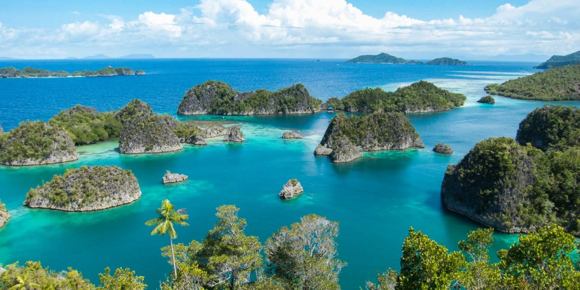 View of the Fam archipelago from the viewpoint of Piaynemo. (Raja Ampat, West Papua, Indonesia, January 2015)