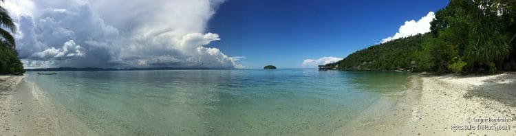 Panorama from the beach of Sorido Bay Resort on Kri Island. (Raja Ampat, West Papua, Indonesia, July 2016)