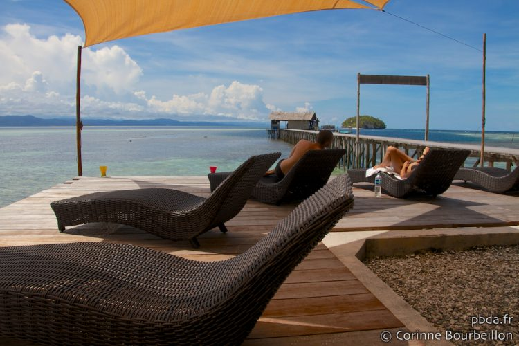 Sorido Bay Resort lounge, Kri Island, Raja Ampat. Papua, Indonesia, July 2012.