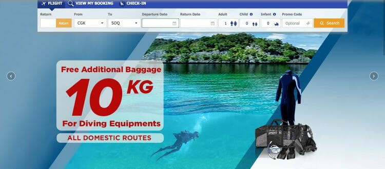 I like companies that are nice with the scuba gear ... Above screenshot of Sriwijaya Air website.