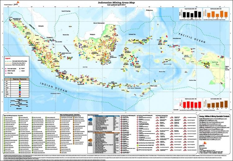 Map of mining operations in Indonesia. 2011.