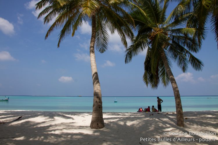 La plage à Hanimadhoo. Maldives, février 2014.