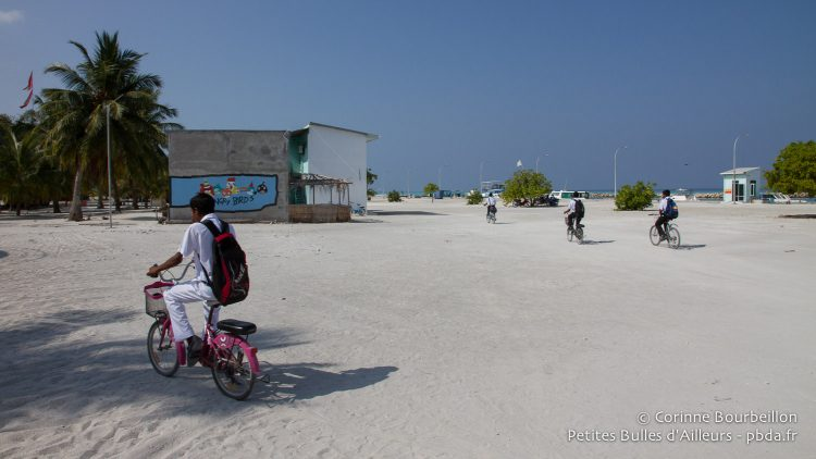 I think this schoolboy stole his sister's bike ... Hanimaadhoo, Maldives, February 2014.