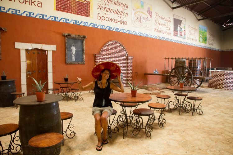 A tourist at the Mayapan Tequila distillery, near Valladolid, Yucatán. Mexico, July 2014.