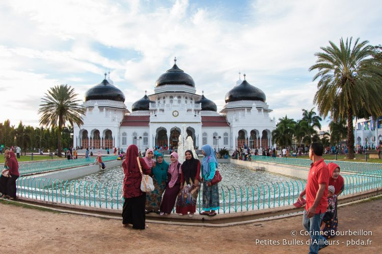 The Baiturrahman Grand Mosque of Banda Aceh. Sumatra, Indonesia. December 2014.