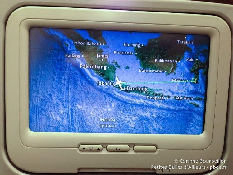 In the plane of Garuda. Flight Jakarta-Makassar. January 2015.