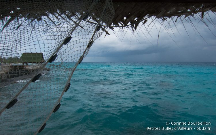 The storm arrives on the Rangiroa lagoon. Polynesia, October 2012.