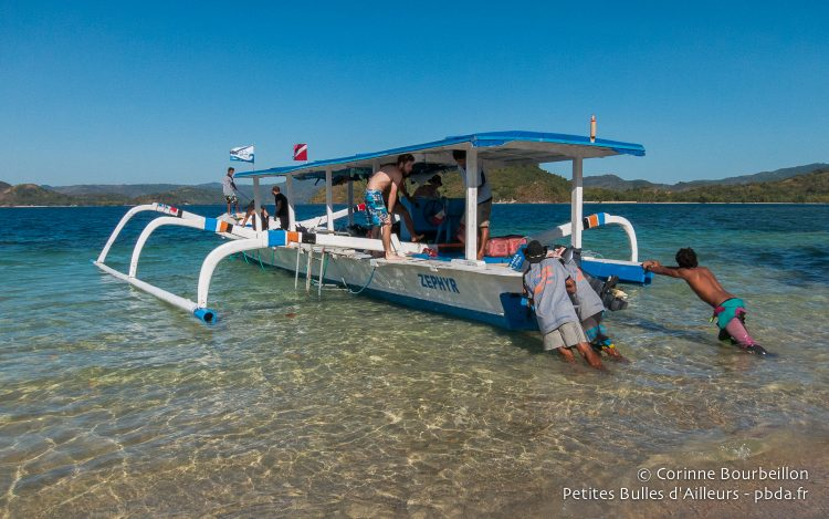 The diving boat of Dive Zone. Gili Asahan, Lombok, Indonesia, July 2015.
