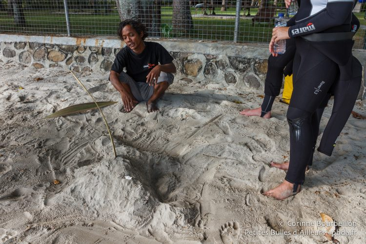 Pi'i, the Dive Zone guide, briefs before the dive at The Magnet, with a 3D model of the site in the sand. (Belongas, Lombok, Indonesia, July 2015.)