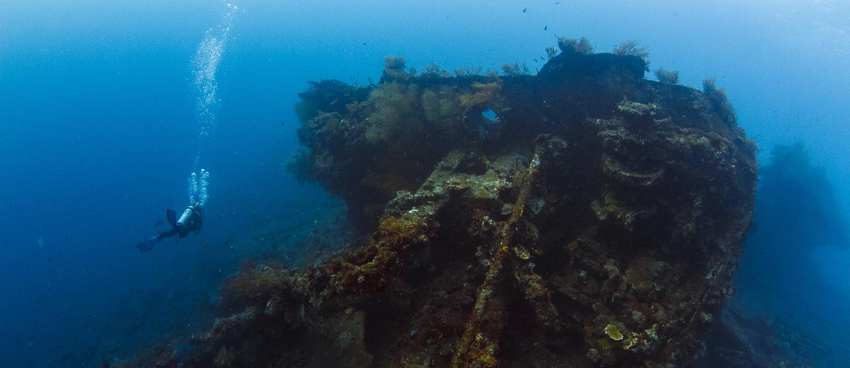 Plongée sur l'épave du Liberty. Tulamben, Bali, Indonésie. Juillet 2015.
