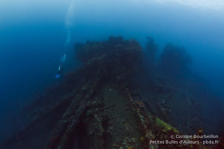 Diving on the wreck of Liberty. Tulamben, Bali, Indonesia. July 2015.