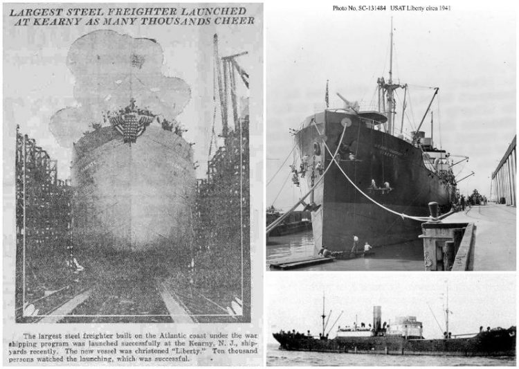 Hooked: the Liberty when it left the shipyard in 1918. On the right, the Liberty in 1941. (Photos: navsource.org)